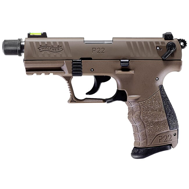 """Walther P22Q .22lr 3.42"""" Tactical Full FDE with Adapter 10 round Pistol w/ 2 Magazines 5120753"""