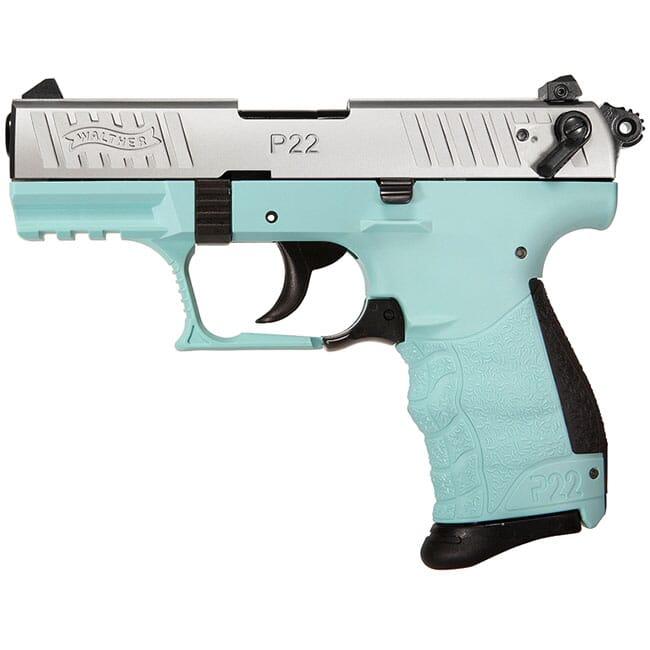 Walther P22Q .22 L.R. 3.4 Angel Blue Nickel Slide 10 Round Pistol w/ 2 Magazines 5120760